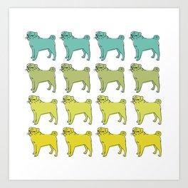 Smug pug club. Art Print