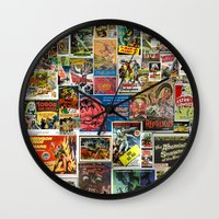movie posters Wall Clocks featuring Vintage Sci-Fi Movie Posters  |  Collage by Silvio Ledbetter