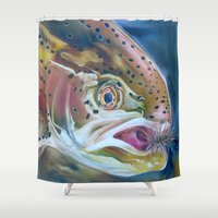 trout Shower Curtains featuring Rainbow trout by Shana Smith Artwork