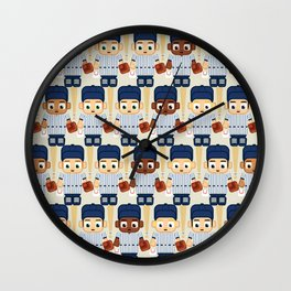Baseball Pinstripes White and Blue - Super Cute Sports Stars Wall Clock