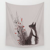 squirrel Wall Tapestries featuring Squirrel by Linette No