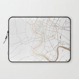 Bangkok Thailand Minimal Street Map - Gold Metallic and White IV Laptop Sleeve