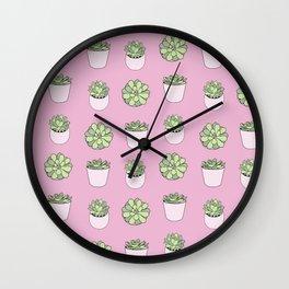 pink suculents in flowerpots Wall Clock