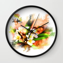 Beautiful tropical flowers on white Wall Clock