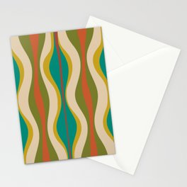 Mid-Century Modern Hourglass Abstract Pattern in Turquoise Teal, Orange, Mustard, Olive, and Mid Mod Beige Stationery Cards