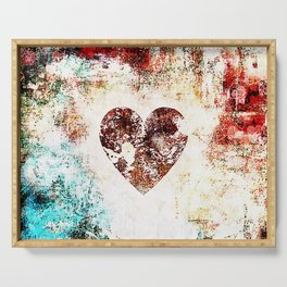 Vintage Heart Abstract Design Serving Tray