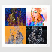 always sunny Art Prints featuring shes always sunny by Elyse M Saunders