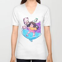 bee and puppycat V-neck T-shirts featuring Bee and Puppycat- Dream by merrigel