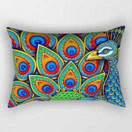 Colorful Paisley Peacock Rainbow Bird Rectangular Pillow