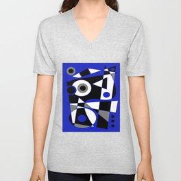 Abstract #505 Blue Unisex V-Neck