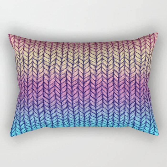 Rainbow Gradient Chunky Knit Pattern Rectangular Pillow