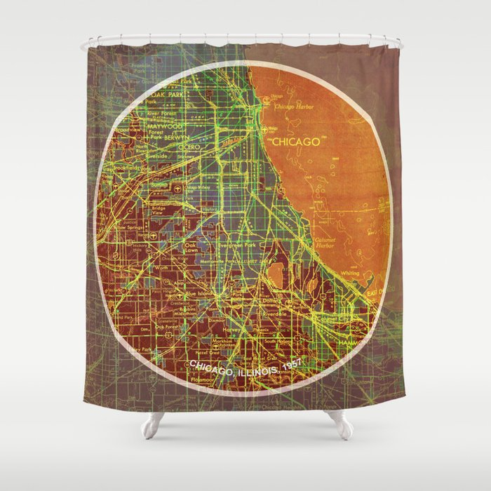 Frank Lloyd Wright Chicago Map.Chicago Map Frank Lloyd Wright Quote Chicago 1957 Shower Curtain