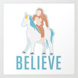 Funny Bigfoot Sasquatch Unicorn Gift Art Print