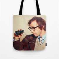woody allen Tote Bags featuring WOODY ALLEN by VAGABOND