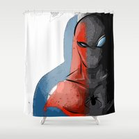spider man Shower Curtains featuring SPIDER-MAN by Long Live The Doughnuts