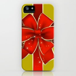Red Bow on Gold iPhone Case