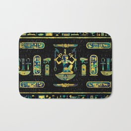 Egyptian  Gold and Blue Marble Ornament Bath Mat