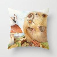 beaver Throw Pillows featuring Mouse & Beaver by Patrizia Donaera ILLUSTRATION