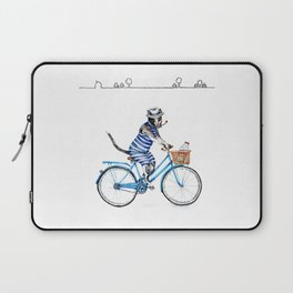 Cat on a Blue Bicycle Laptop Sleeve