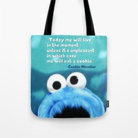 cookie monster Tote Bags featuring Cookie Monster Motivational by Tiffany Taimoorazy