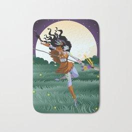 fantasy huntress dark elf woman Bath Mat