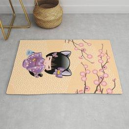 Japanese Neko Kokeshi Doll V2 Rug