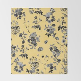 Black and White Floral on Yellow Throw Blanket