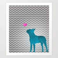 Teal Watercolor Boston Terrier Chevron Art Print