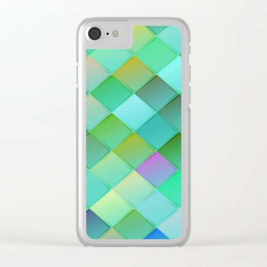 Green pattern with squares.Trendy print. Modern graphic design. Clear iPhone Case