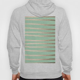 Stripes Metallic Gold Mint Green Hoody