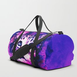 pianca baby cat kitten splatter watercolor purple pink Duffle Bag