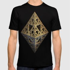 multi triangle Mens Fitted Tee LARGE Black
