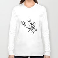 antler Long Sleeve T-shirts featuring deer antler by oslacrimale