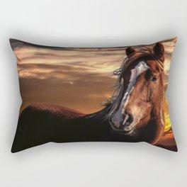 Horse Sunset Rectangular Pillow