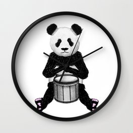 Panda Drummer Wall Clock