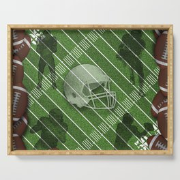 Football Helmet and Players over a Field Serving Tray