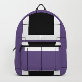 White Hairline Squares in Purple Backpack