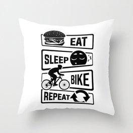 Eat Sleep Bike Repeat - Bicycle Racing Cycling Throw Pillow