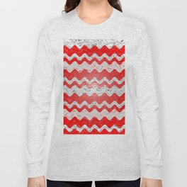 Red White Stripe Patchy Marble Pattern Long Sleeve T-shirt