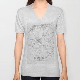 Canterbury -  Kent UK Gray City Map Unisex V-Neck