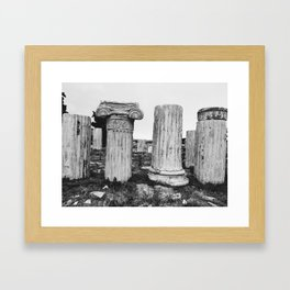 Ruined columns at the Parthenon Framed Art Print