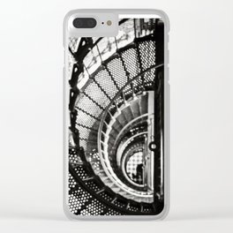 Spiral staircase black and white Clear iPhone Case