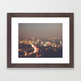 Los Angeles cityscape at night. Abstract Mulholland Framed Art Print