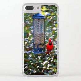 Cardinal At Bird Feeder Clear iPhone Case