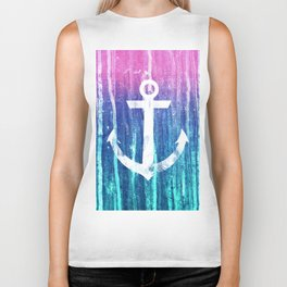 Nautical Anchor Pink Teal Watercolor Stripes Drips Biker Tank