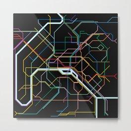 Paris Subway Map Metal Print