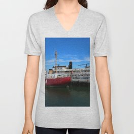 Riverboat Legacy and Fireship Columbia on Columbia River Unisex V-Neck