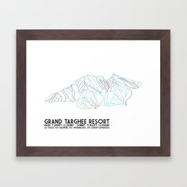 Grand Targhee Resort, WY - Minimalist Trail Art Framed Art Print