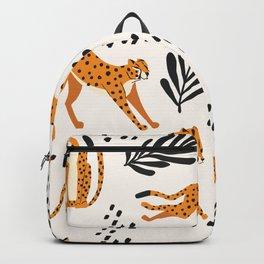 Cheetahs pattern on white Backpack