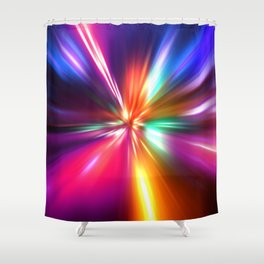 acceleration speed motion on night road Shower Curtain